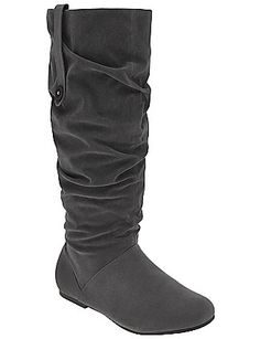 Faux Suede Slouch Boot in castle rock@ Lane Bryant. also comes in black and chocolate brown