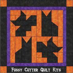 halloween fabric with black cats | Halloween Cats Bats Orange Black Fabric Easy Pre-Cut Wall Hanging ...