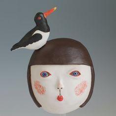 Girl with Oystercathcer Ceramic Mask, Art Corner, Girls Series, Stoneware Clay, Bird Watching, White Patterns, Ceramic Pottery, White Ceramics, Masks