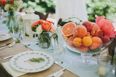 love these sweet fruity centerpieces | Angela Cox