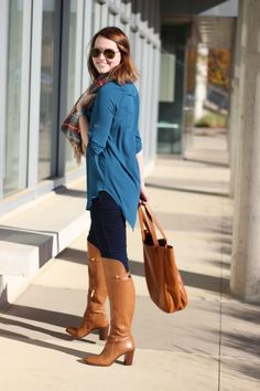 Lush Perfect Tunic, Zara Blanket Scarf, Louise Et CIe Over The Knee Boots