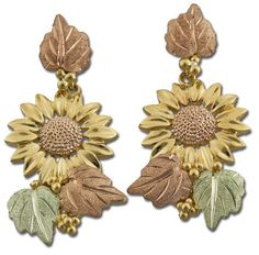 Black Hills Gold Sunflower Earrings with Leaves
