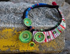 Hundertwasser necklace, Art-necklace, Felted necklace, Multicoloured necklace, Lampwork Necklace, Vivid color, Bright colour necklace