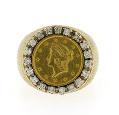 14K 22K Gold Diamond Coin Dome Ring Featured in our upcoming auction on June 14!