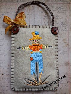 Felt Scarecrow ornament Machine embroidery by longvalleybears
