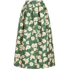 Rochas Green Magnolia Print Full Skirt ($880) ❤ liked on Polyvore featuring skirts, box pleat midi skirt, patterned midi skirt, print midi skirt, patterned skirts and floral print skirt