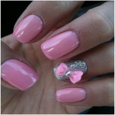 pink nails with 3d bows - Google Search