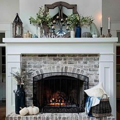 Here is an article related with fireplaces. Fireplace Doors, Brick Fireplace Makeover, Home Fireplace, Living Room With Fireplace, Fireplace Design, Fireplace Mantels, Fireplace Ideas, Fireplace Decorations, Fireplace Remodel