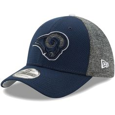 ecaaebf42 Men s Los Angeles Rams New Era Navy Heathered Gray Fierce Fill Team Color  39THIRTY Flex