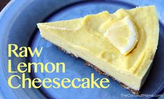 Raw Lemon Cheesecake (Gluten Free + Dairy Free) Could be Vegan with agave nectar instead of honey. Raw Desserts, Paleo Dessert, Gluten Free Desserts, Healthy Desserts, Raw Food Recipes, Just Desserts, Sweet Recipes, Delicious Desserts, Dessert Recipes
