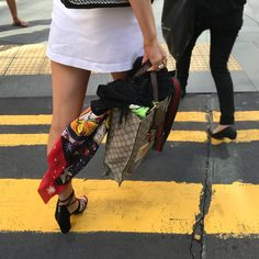 """Kate Padget-Koh Silk Scarf. """"Winter: Patron Saint of Gucci with Nelson"""". Crossing the road in Central, Hong Kong.  www.katepadgetkoh.com"""