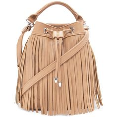 Forever 21 Fringed Faux Leather Bucket Bag (395 ARS) ❤ liked on Polyvore featuring bags, handbags, shoulder bags, shoulder handbags, drawstring bucket bag, fringe bucket bag, handbags & purses and handbags shoulder bags