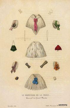 French Fashion Plate Paris le Moniteur de la Mode Jules David 1846
