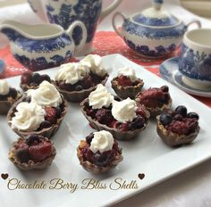 Chocolate Berry Bliss Shells. A fun, delicious dessert to make for Valentine's Day or any small home gathering. Easy and simple to make and they are very, very tasty!