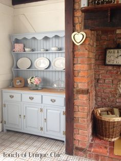Pine welsh dresser Refurbished in a pale blue beautiful country cottage.