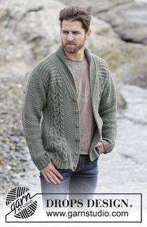 "Finnley - Knitted DROPS men's jacket with cables and shawl collar in ""Lima"". Size: S - XXXL. - Free pattern by DROPS Design Mens Knitted Cardigan, Knit Cardigan Pattern, Jacket Pattern, Knit Jacket, Men Sweater, Men's Jacket, Man Cardigan, Boyfriend Cardigan, Cream Cardigan"