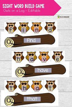 Owls on a log - create a fun printable center with these editable owls on a log sight word center. Sight Word Worksheets, Sight Word Activities, Sight Word Centers, Sight Words, Teaching Resources, Kindergarten, Preschool, Knowledge, Sea