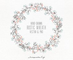 Floral wreath: Hand drawn floral wreath clipart / Wedding invitation clip art / commercial use / PNG and Vector / Flowers / Floral wreath: Hand drawn floral clip art / Wedding invitation clip Floral Invitation, Floral Wedding Invitations, Wedding Stationery, Wedding Fonts, Wreath Watercolor, Watercolour, Vector Flowers, Floral Border, Clipart