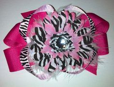 Pink and black zebra 4.5 inch bow on Etsy, $5.50