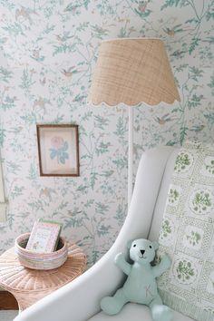 Nursery Wallpaper, Green Wallpaper, Twin Beds For Boys, Jenny Lind Crib, Victorian Nursery, Floor Lamp Base, Cole And Son, Nursery Inspiration, Ballard Designs
