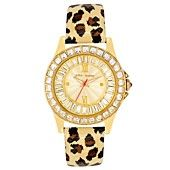 Betsey Johnson Watch, Women's Leopard Print Patent Leather Strap BJ00004-02