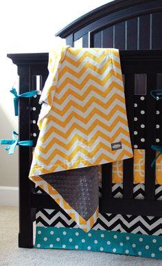 Adorable nursery for a boy or girl! Featured Premier Fabrics: Zig Zag Corn Yellow (blanket), Polka Dot Black (bumper), Gotcha Corn Yellow (crib sheet), Zig Zag Black (crib skirt), Polka Dot True Turquoise (crib skirt), Chenille Minky Dot Ash (blanket)
