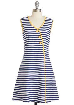 Tender Loving Character Dress - Mid-length, Cotton, Woven, Yellow, Blue, White, Stripes, Print, Buttons, Casual, Nautical, A-line, Sleeveless, Trim, V Neck