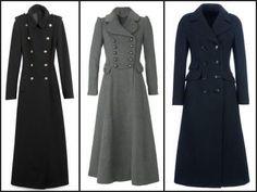 Military Style Ladies Maxi Coat | JLo Women's Black Long Military ...