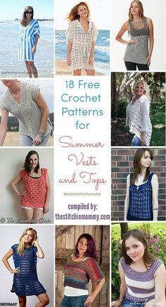 18 Free Crochet Patterns for Summer Vests and Tops compiled by The Stitchin' Mommy | www.thestitchinmommy.com