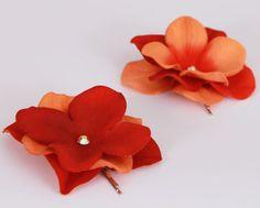 Sunburst  Orange & Rust  Flower Bobby Pins by Cutiepatootiedesignz