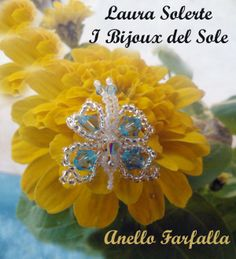 Butterfly ring made with Swarovski crystals and Miyuki beads. Venduto-Sold. Disponibile su ordinazione - Available on request