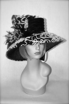 beautiful black and white kentucky derby church hat