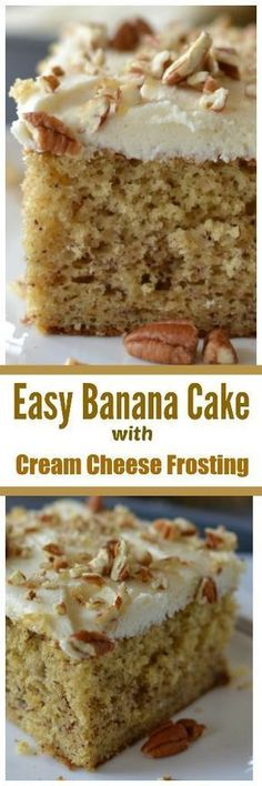 Easy Banana Cake with Cream Cheese Frosting - Quick to come together, absolutely delicious. #DesertsFoodRecipes