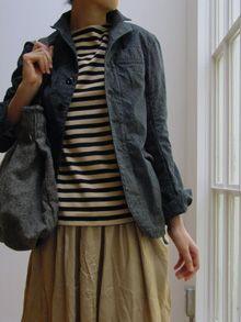French work jacket, drawstring skirt