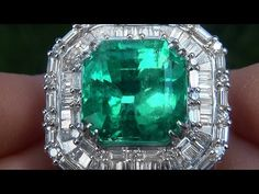 GIA Certified Natural Colombian Emerald & Diamond PLATINUM Vintage Cocktail Ring - A121393 - YouTube