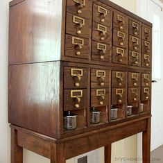 Sometime last year, I went on this frenzy of looking for a used card catalog that I could make beautiful.  In my mind, I thought that a nice big card catalog would be the perfect hidey hole for all of those random craft supplies that tend to get lost in my mess of a craft …