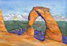 original watercolor by Amy Pernich. Delicate Arch 7x10.