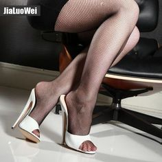 be6ee84157 Summer Woman 18cm Thin Ultra High Heels Slipper Fetish Nightclub Women  Sandals High Heeled Sexy Beach Shoes plus size 36-46