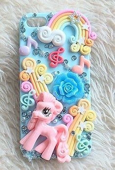 Cute Pink Resin Pony Flower Rainbow DIY Deco Den Kit Cell For i Phone 4S 5 Case
