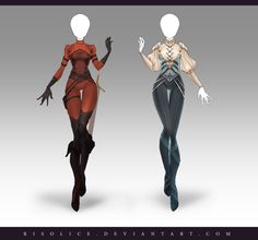 (OPEN) Adoptable Outfit Auction 205 - 206 by Risoluce on DeviantArt Clothing Sketches, Dress Sketches, Dress Drawing, Drawing Clothes, Anime Outfits, Cool Outfits, Fashion Outfits, Character Costumes, Character Outfits