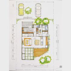 . 【ボツプラン018】 家って、東西に長いほうが熱環境的にも明るさ的にも設計しやすくなる。 このプランは敷地に対して東西はもうちょっと幅広くするといいかも。あと91㎝は伸ばせるかな。 . . #collabohouse#コラボハウス #間取り#間取り図#設計図 #設計士#設計士とつくる家 #住宅#住宅設計#自由設計 #デザイン住宅#注文住宅 #新築#新築一戸建て #家づくり #myhome#マイホーム #ウッドデッキ #シューズクローク #パントリー #ボツプラン