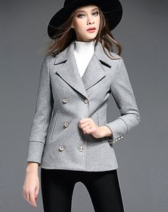 Click to see the details about this Grey Sheath Wool Blazer With Buttons from BIEMEI. VIPme.com offers high-quality blazers at affordable prices.