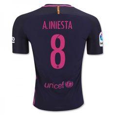 Barcelona 16-17 #Andres Iniesta 8 Udebanesæt Kort ærmer,208,58KR,shirtshopservice@gmail.com