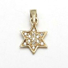 14k Yellow Gold Diamond Star of David Pendant Small