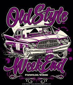T-shirt artwork for Old Style Weekend Foxwolde 2014 #hotrod #hot #rod #Chrysler #300 #dirt #track #racing #vintage #event #tshirt #artwork