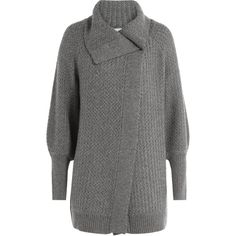 Claudia Schiffer Wool Cardigan ($320) ❤ liked on Polyvore featuring tops, cardigans, grey, asymmetrical cardigan, claudia schiffer, gray wool cardigan, gray top and grey wool cardigan