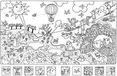 Busca y encuantra - Find and search - Kleurplaat Zoek de details - Busca i troba