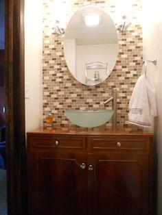 Glass tile & vessel sink #bathroom