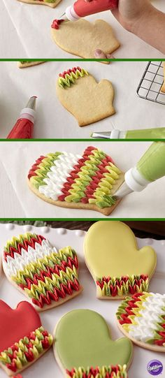 Like this you can decorate your Christmas cookies this year. Gloves are one of the symbols of winter, they warm in winter our hands but here are tasty and sweet so we can enjoy in them.