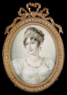 French School, Caroline Murat (née Bonaparte) (1782-1839), wearing white dress…